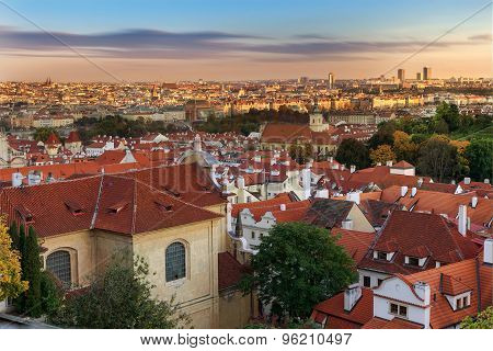 Panoramic view on Prague from the Prague Castle, Czech Republic