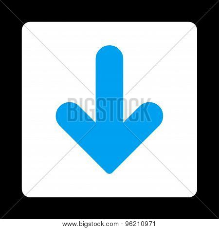 Arrow Down flat blue and white colors rounded button