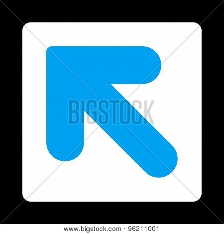 Arrow Up Left flat blue and white colors rounded button