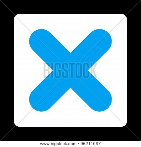 Cancel flat blue and white colors rounded button