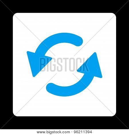 Refresh Ccw flat blue and white colors rounded button