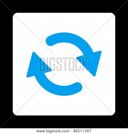 Refresh flat blue and white colors rounded button