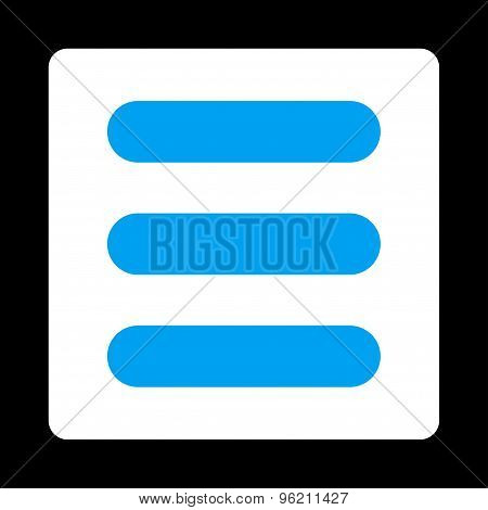 Stack flat blue and white colors rounded button