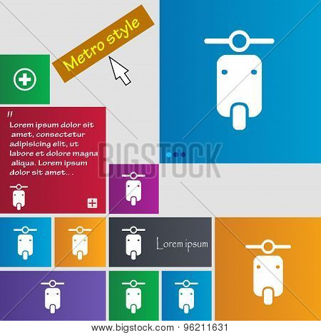 Motorcycle Icon Sign. Buttons. Modern Interface Website Buttons With Cursor Pointer. Vector