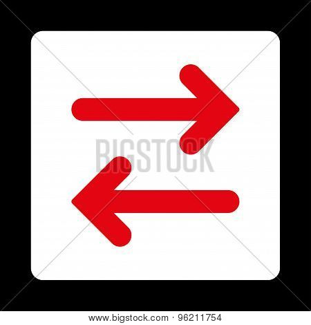 Flip Horizontal flat red and white colors rounded button