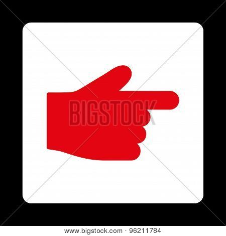 Index Finger flat red and white colors rounded button