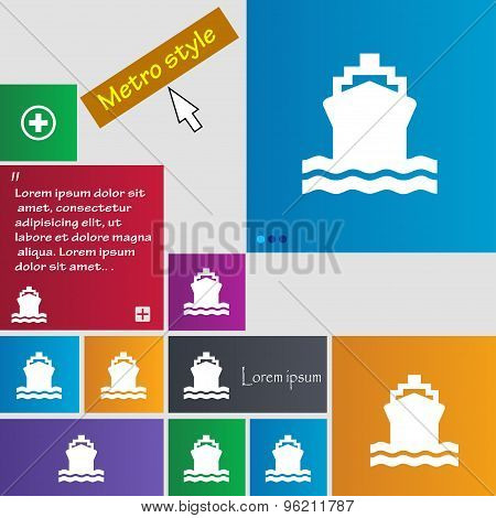 Ship Icon Sign. Buttons. Modern Interface Website Buttons With Cursor Pointer. Vector