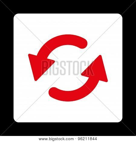 Refresh Ccw flat red and white colors rounded button