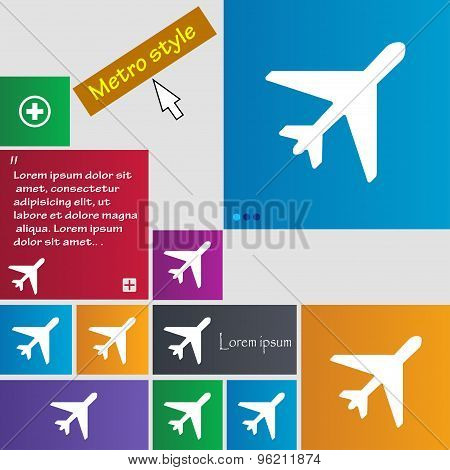 Airplane Icon Sign. Buttons. Modern Interface Website Buttons With Cursor Pointer. Vector