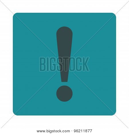 Exclamation Sign flat soft blue colors rounded button