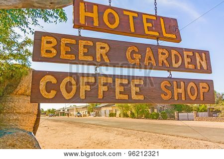 Hotel Sign In Helmeringhousen, Namibia.