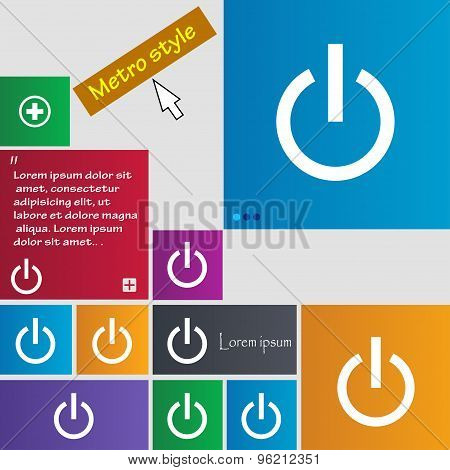 Power Icon Sign. Buttons. Modern Interface Website Buttons With Cursor Pointer. Vector