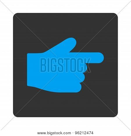 Index Finger flat blue and gray colors rounded button