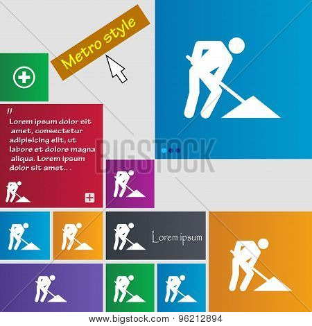Repair Of Road, Construction Work Icon Sign. Buttons. Modern Interface Website Buttons With Cursor P