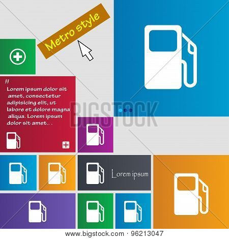 Auto Gas Station Icon Sign. Buttons. Modern Interface Website Buttons With Cursor Pointer. Vector