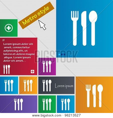 Fork, Knife, Spoon Icon Sign. Buttons. Modern Interface Website Buttons With Cursor Pointer. Vector