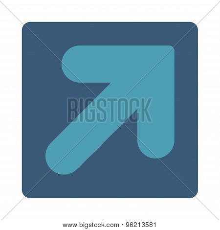 Arrow Up Right flat cyan and blue colors rounded button