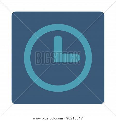 Clock flat cyan and blue colors rounded button
