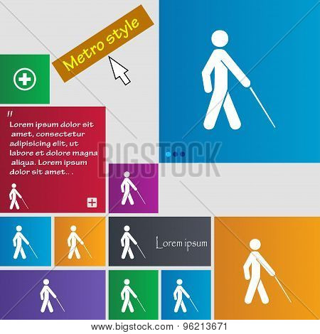 Blind Icon Sign. Buttons. Modern Interface Website Buttons With Cursor Pointer. Vector