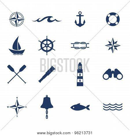 Set of nautical sea ocean sailing icons.