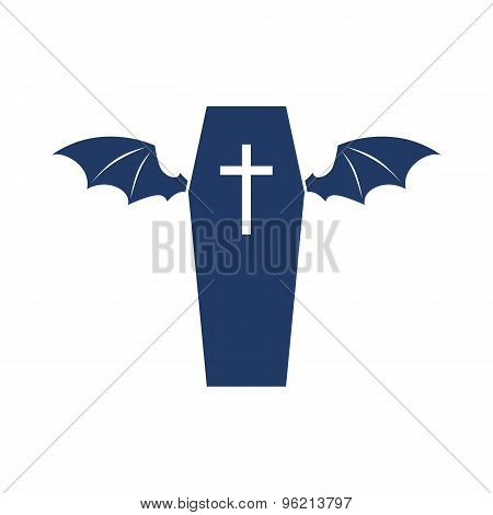 Coffin with wings symbol logo design.