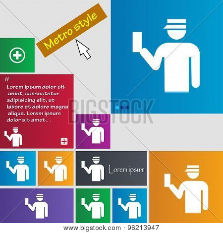 Inspector Icon Sign. Buttons. Modern Interface Website Buttons With Cursor Pointer. Vector