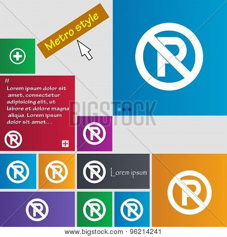 No Parking Icon Sign. Buttons. Modern Interface Website Buttons With Cursor Pointer. Vector