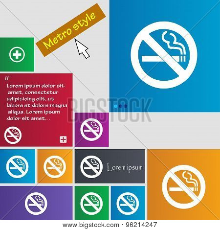 No Smoking Icon Sign. Buttons. Modern Interface Website Buttons With Cursor Pointer. Vector