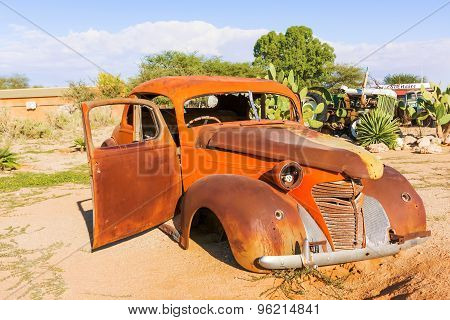 Old And Rusty Vintage Car In Namibia