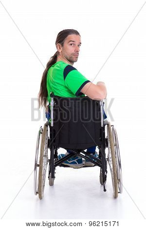 Young Man In A Wheelchairfrom The Back