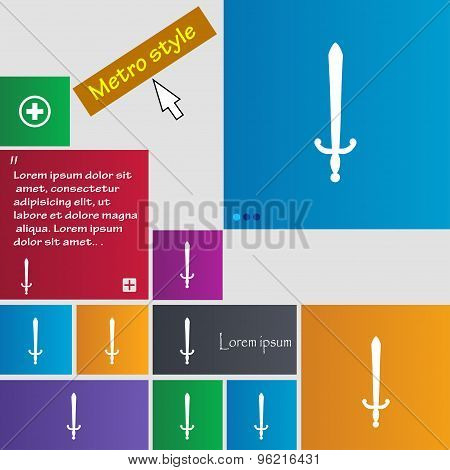 The Sword Icon Sign. Buttons. Modern Interface Website Buttons With Cursor Pointer. Vector