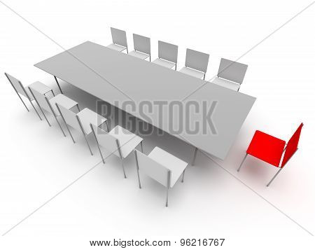 Chairs And Table. Leadership Concept