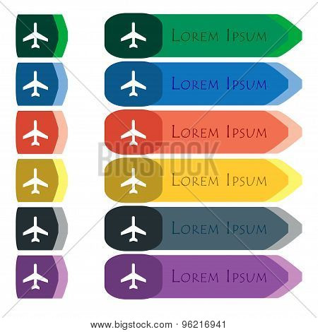 Airplane Icon Sign. Set Of Colorful, Bright Long Buttons With Additional Small Modules. Flat Design