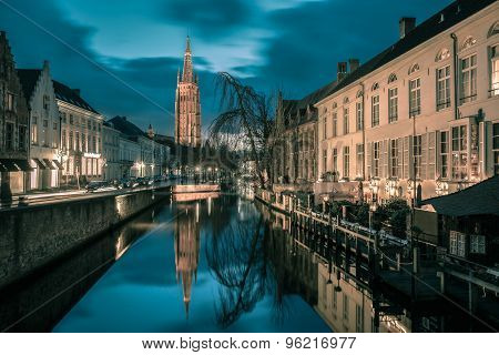 Canal Dijver and a Church of Our Lady in Bruges