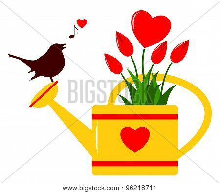 Heart Flowers In Watering Can