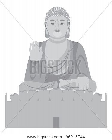 Big Buddha Sitting Statue Front Grayscale Illustration