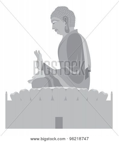 Big Buddha Sitting Statue Grayscale Illustration