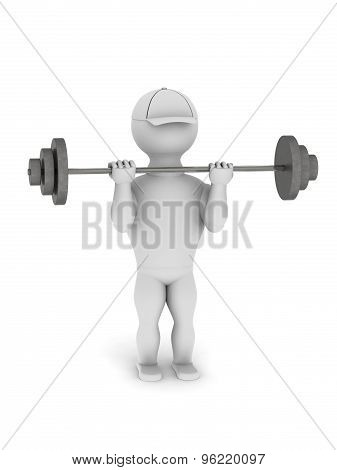 White Man Goes In For Sports With A Barbell