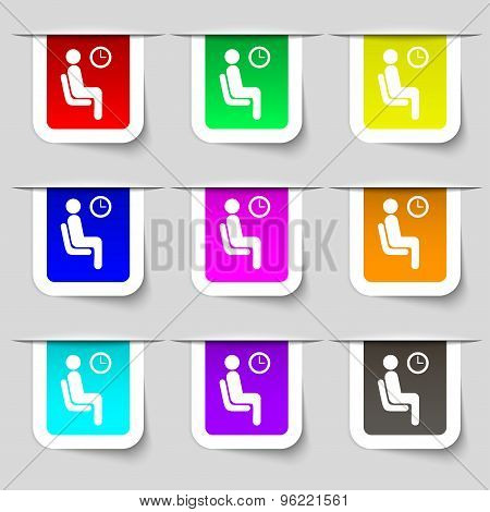 Waiting Icon Sign. Set Of Multicolored Modern Labels For Your Design. Vector