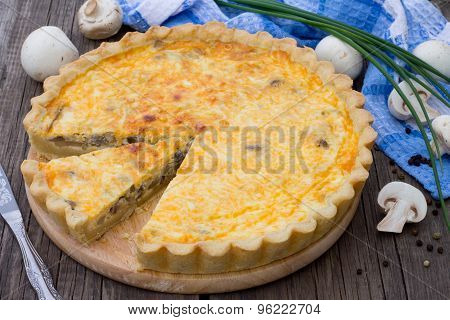 Open Pie With Mushrooms And Cheese, Shortcrust Pastry