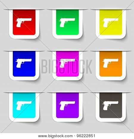 Gun Icon Sign. Set Of Multicolored Modern Labels For Your Design. Vector