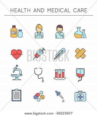 Medical and Healthcare outline icons set.