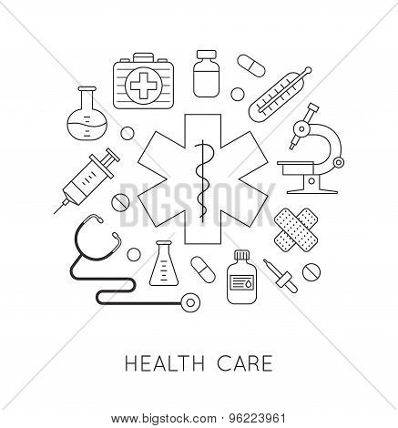 Medicine background with pills, medical and lab equipments. Design elements for mobile, web applicat