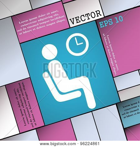 Waiting Icon Sign. Modern Flat Style For Your Design. Vector