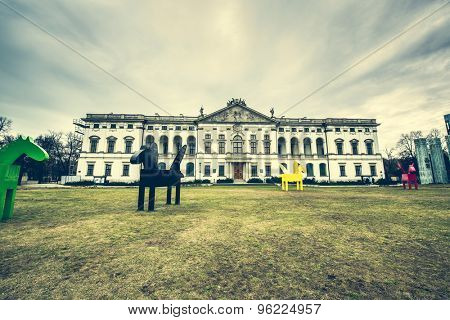 Warsaw, Poland - March 08, 2015: building of the National Library of Poland in Warsaw