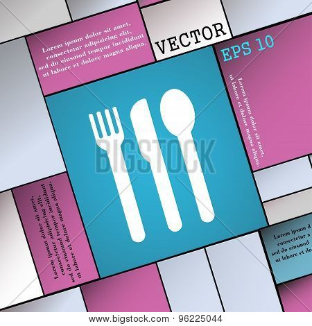 Fork, Knife, Spoon Icon Sign. Modern Flat Style For Your Design. Vector