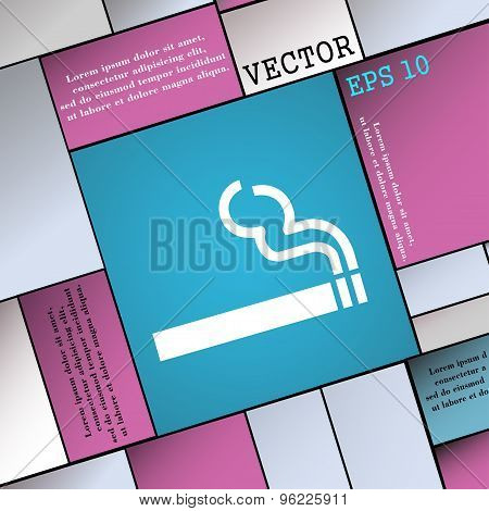 Cigarette Smoke Icon Sign. Modern Flat Style For Your Design. Vector
