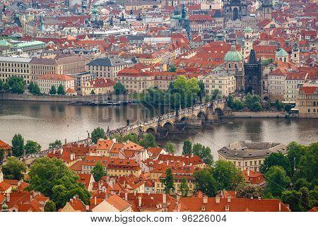 Prague Charles Bridge From Petrin Hill