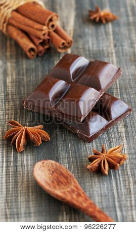 pieces of chocolate with cinnamon, anise and candied l