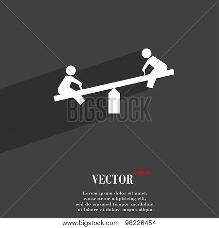 Swing Icon Symbol Flat Modern Web Design With Long Shadow And Space For Your Text. Vector